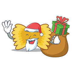 Santa with gift farfalle pasta mascot cartoon vector