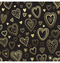 Seamless background with hand drawn hearts vector image