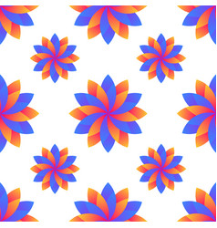 Seamless blue and orange gradient flowers vector