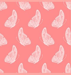 Seamless pattern of hand drawing butterfly vector
