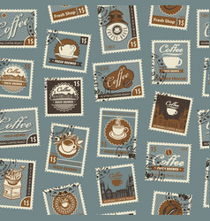 seamless pattern with postage stamps coffee theme vector image