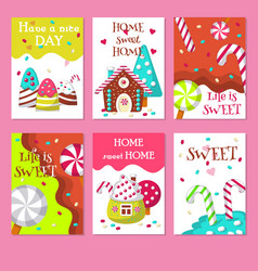 Set cards with sweet candies vector