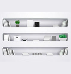 Shelves office and cabinet vector