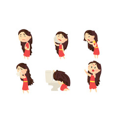 Sickness girl suffering from different symptoms vector