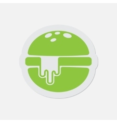 Simple green icon - hamburger with melted cheese vector