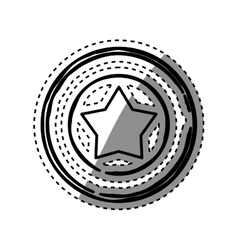 Star in round emblem vector image