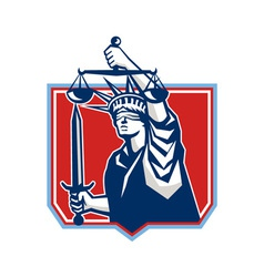 Statue of Liberty Wielding Sword Scales Justice vector image