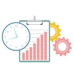 time management clipboard clock and cogwheels vector image