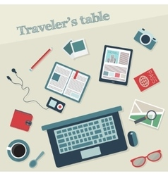 Travelers table with icons vector image