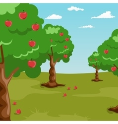 Trees with red apples in orchard vector