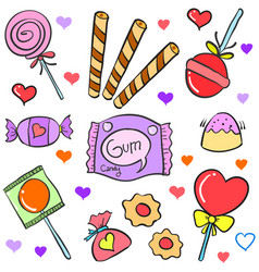 Various candy hand draw doodle style vector
