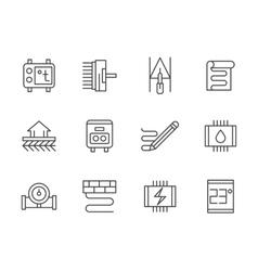 Warm floor black line icons set vector image