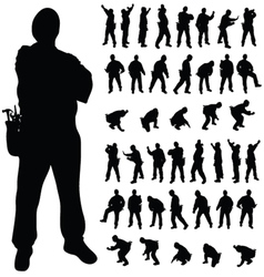 Worker black silhouette in various poses vector