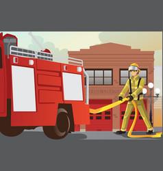 Working fireman vector
