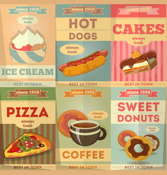 food poster set vector image vector image