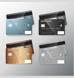 realistic credit card set vector image