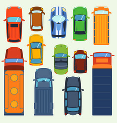 car vehicle top view set icon transport vector image