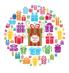 Colorful gift boxes in the circle vector image vector image