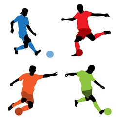 four soccer players vector image vector image
