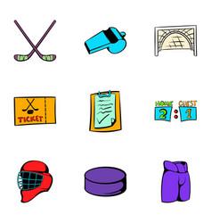 hockey sport icons set cartoon style vector image vector image