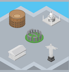 isometric attraction set of rio athens coliseum vector image