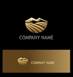 mountain landscape nature gold logo vector image vector image
