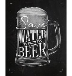 Poster drink beer chalk vector image vector image