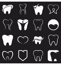 Tooth teeth icons set vector image vector image