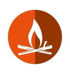 Bonfire wood camping design orange circle shadow vector