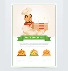 cartoon character of italian pizzaiolo holding vector image vector image