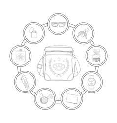 Student shoulder bag contents Contour vector image vector image