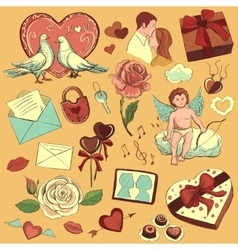Valentines day hand-drawn symbols collection vector image