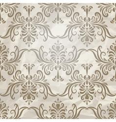 vintage wallpaper pattern on crumpled paper vector image vector image
