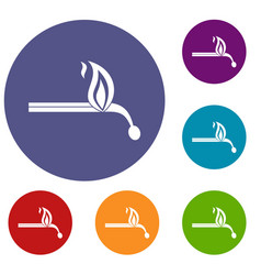 burning match icons set vector image vector image