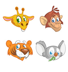 cartoon african animal head icons collection vector image vector image