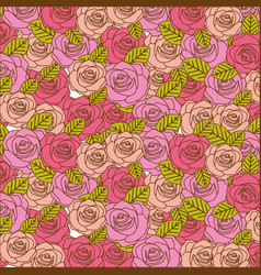 Colorful realistic pattern with roses and leaves vector