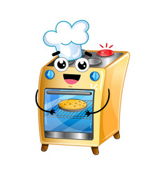 happy electric oven isolated cartoon character vector image vector image