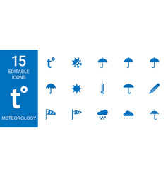 15 meteorology icons vector image