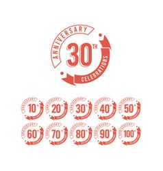 30 years anniversary set celebrations elegant vector