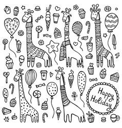 a set doodle giraffes vector image
