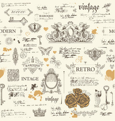 abstract seamless pattern with sketches and notes vector image