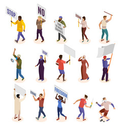 Activists isometric icons set vector