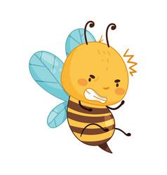 Adorable buzzing honey bee cartoon character vector