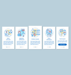 Babysitter request onboarding mobile app page vector
