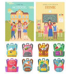 Back to school education for students bags set vector