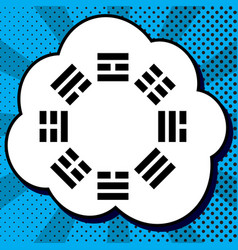 bagua sign black icon in bubble on blue vector image