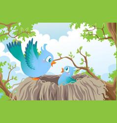 Birds in nest vector