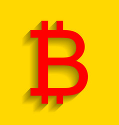 bitcoin sign red icon with soft shadow on vector image