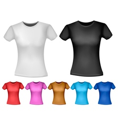 Black and white and color woman polo t-shirts vector image