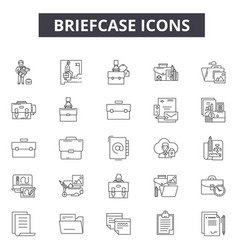 briefcase line icons for web and mobile design vector image